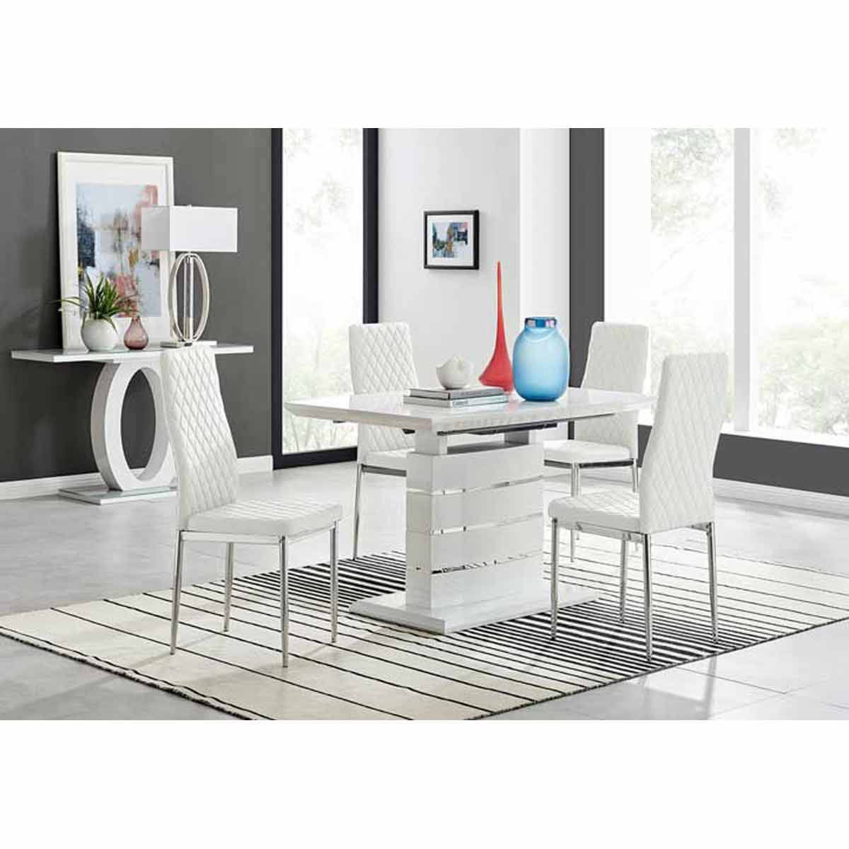 Furniture Box Renato 120cm High Gloss Extending Dining Table and 4 White Milan Chairs