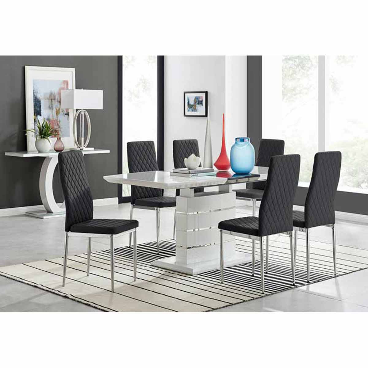 Furniture Box Renato 120cm High Gloss Extending Dining Table and 6 Black Milan Chairs