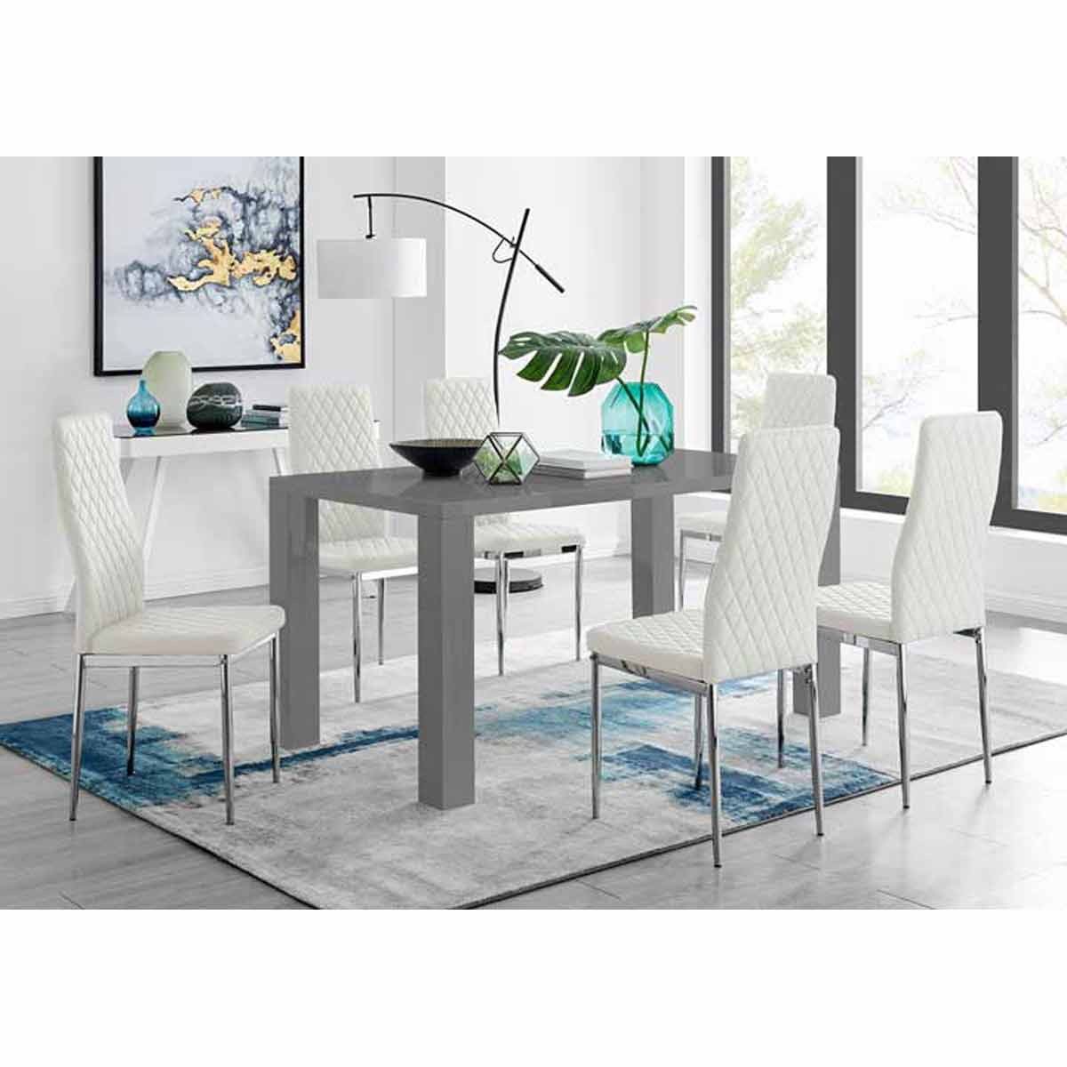 Furniture Box Pivero Grey High Gloss Dining Table And 6 Modern White Milan Chairs Set