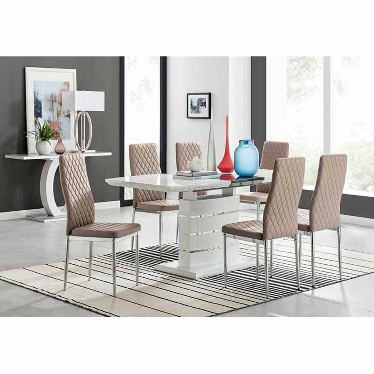 Furniture Box Renato 120cm High Gloss Extending Dining Table and 6 Cappuccino Milan Chairs