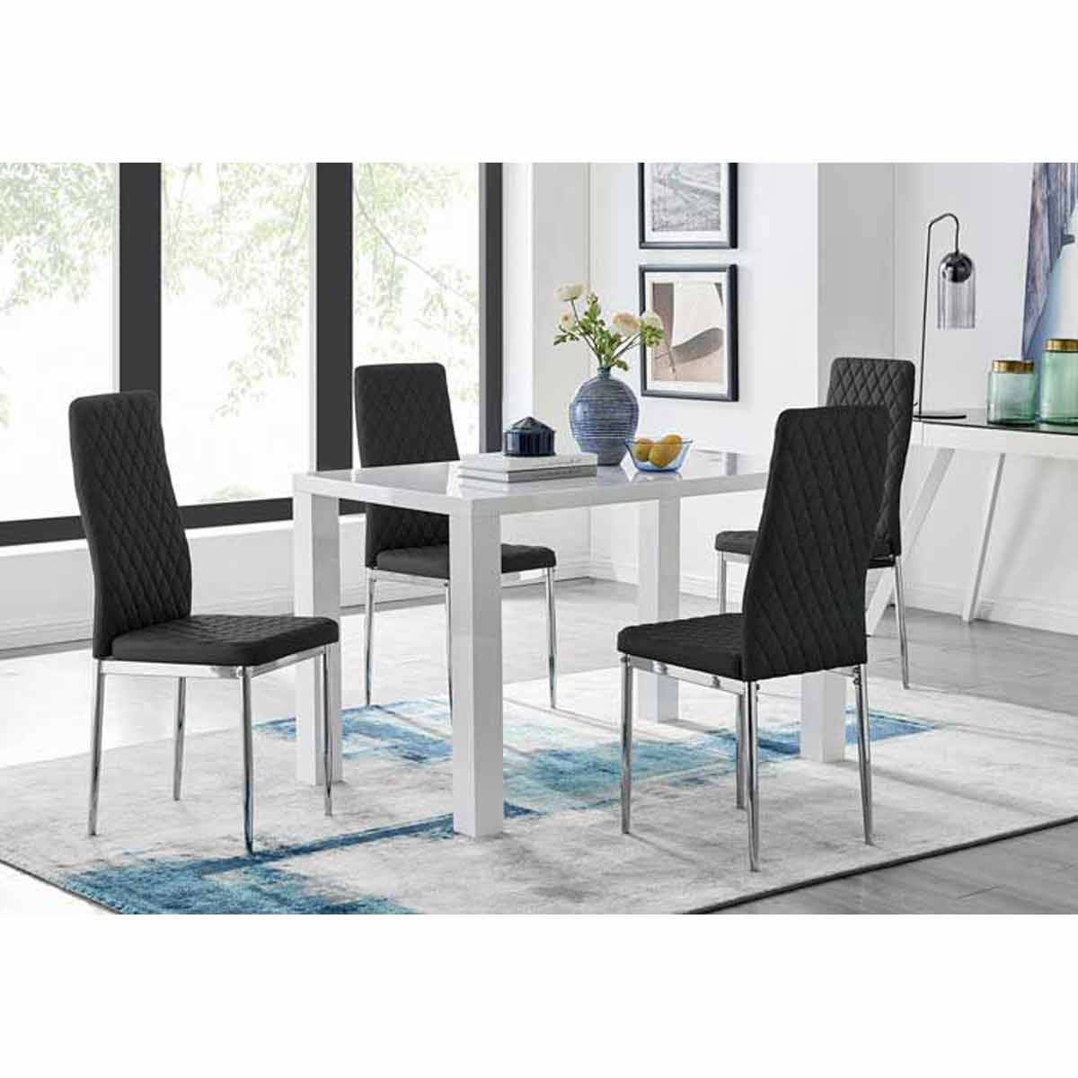Furniture Box Pivero White High Gloss Dining Table and 4 Black Milan Chairs Set
