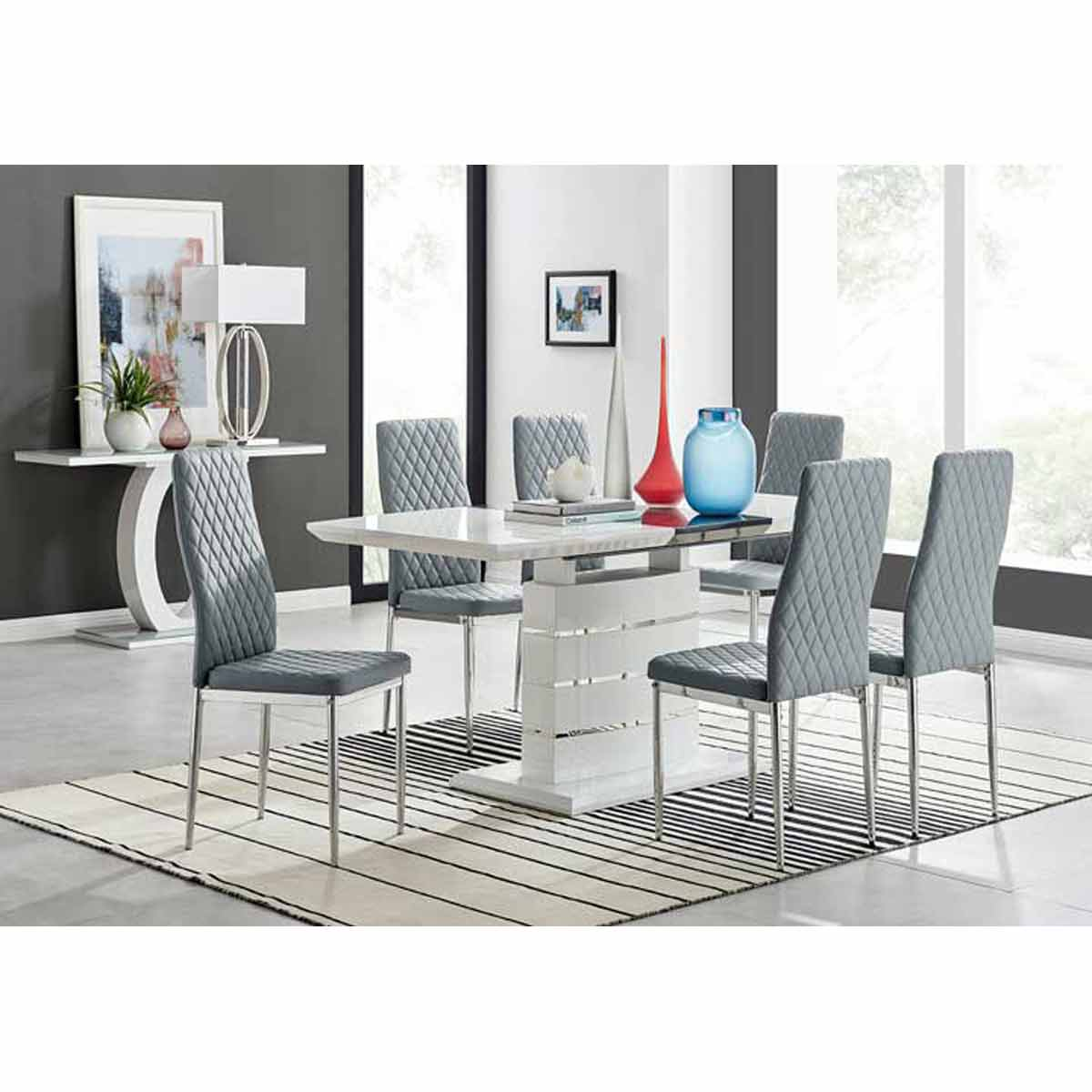 Furniture Box Renato 120cm High Gloss Extending Dining Table and 6 Grey Milan Chairs