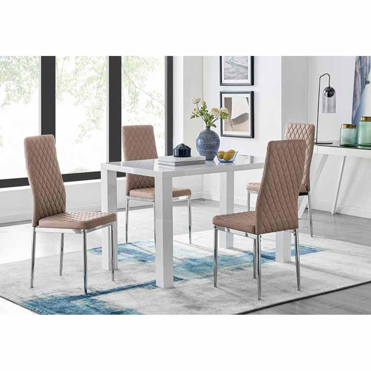 Furniture Box Pivero White High Gloss Dining Table and 4 Cappuccino Grey Milan Chairs Set