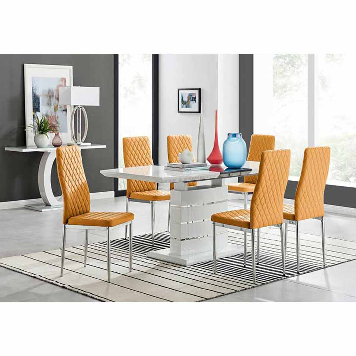 Furniture Box Renato 120cm High Gloss Extending Dining Table and 6 Mustard Milan Chairs