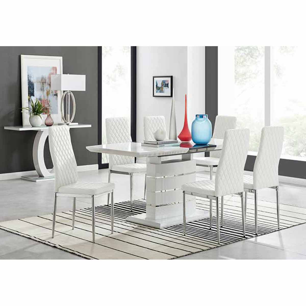 Furniture Box Renato 120cm High Gloss Extending Dining Table and 6 White Milan Chairs
