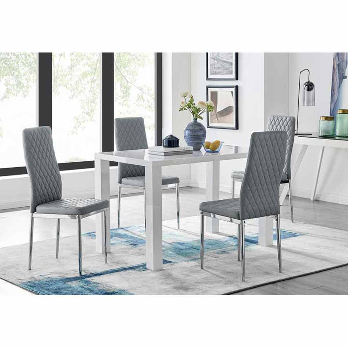 Furniture Box Pivero White High Gloss Dining Table and 4 Elephant Grey Milan Chairs Set