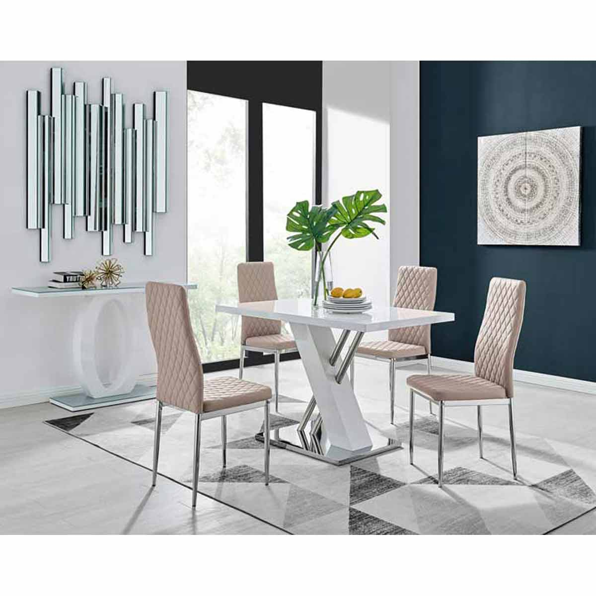 Furniture Box Sorrento 4 White High Gloss And Stainless Steel Dining Table And 4 Cappuccino Grey Milan Chairs Set