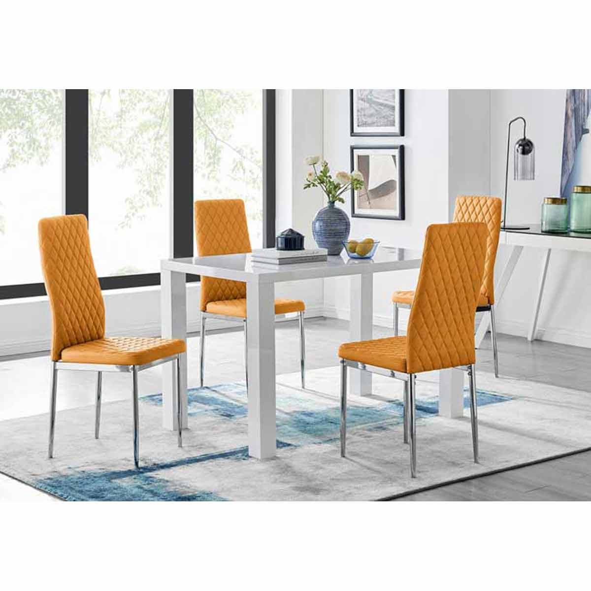 Furniture Box Pivero White High Gloss Dining Table and 4 Mustard Milan Chairs Set