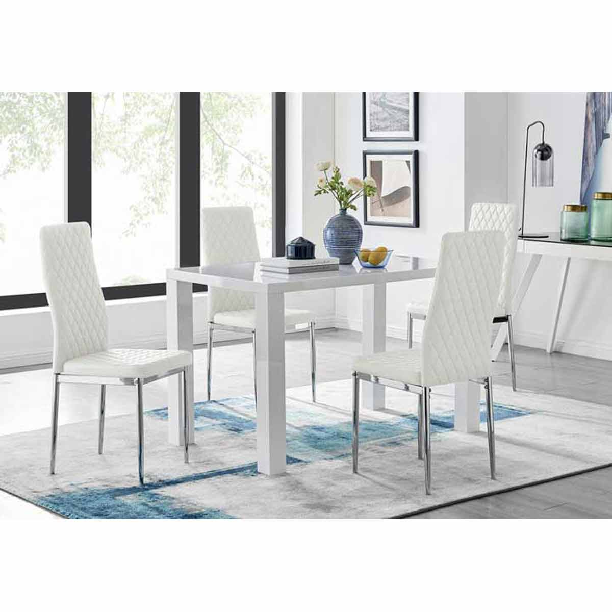 Furniture Box Pivero White High Gloss Dining Table and 4 White Milan Chairs Set