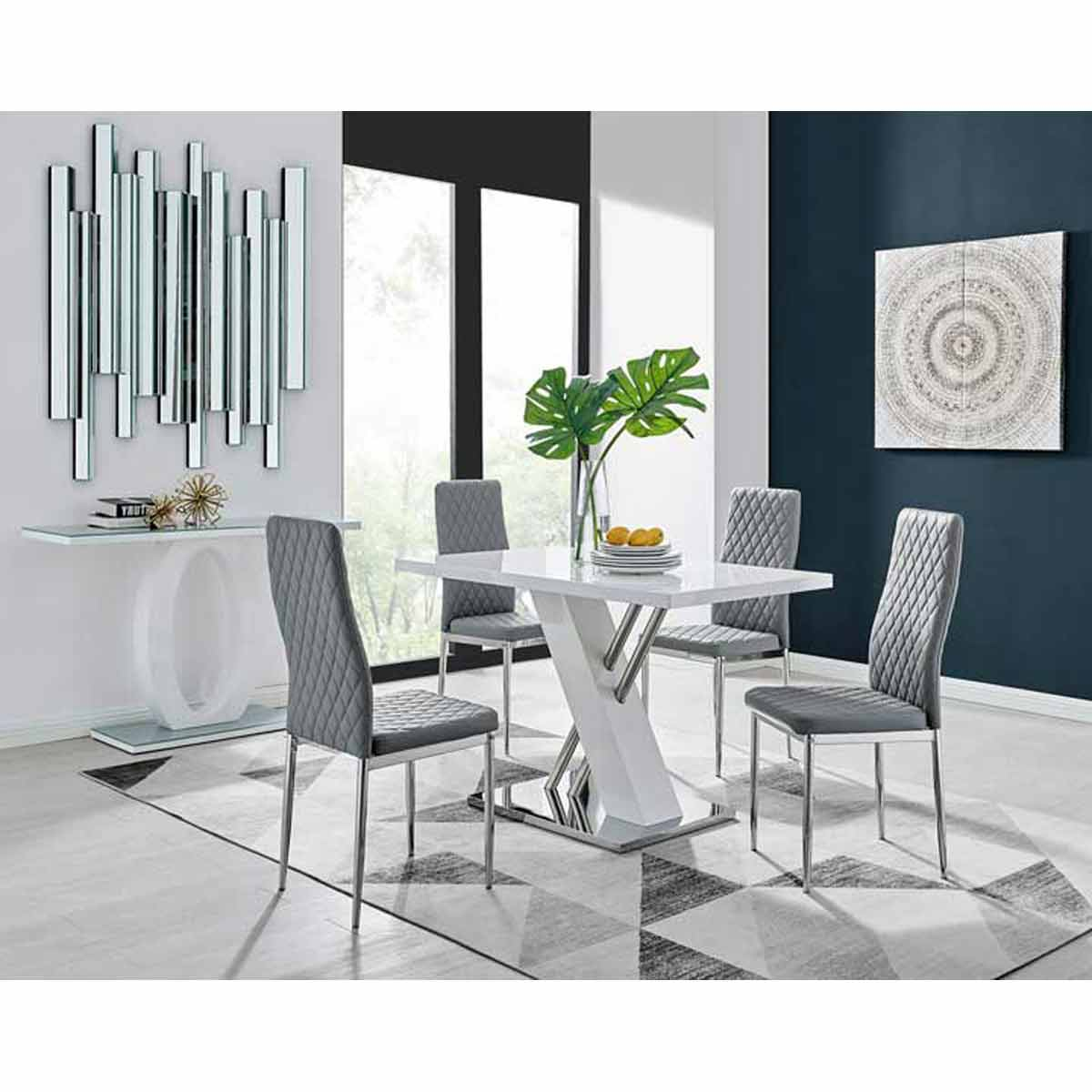 Furniture Box Sorrento 4 White High Gloss And Stainless Steel Dining Table And 4 Grey Milan Chairs Set