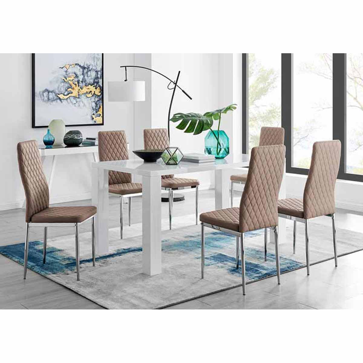 Furniture Box Pivero White High Gloss Dining Table And 6 Cappuccino Grey Milan Chairs Set