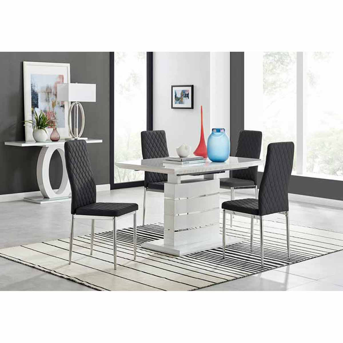 Furniture Box Renato 120cm High Gloss Extending Dining Table and 4 Black Milan Chairs