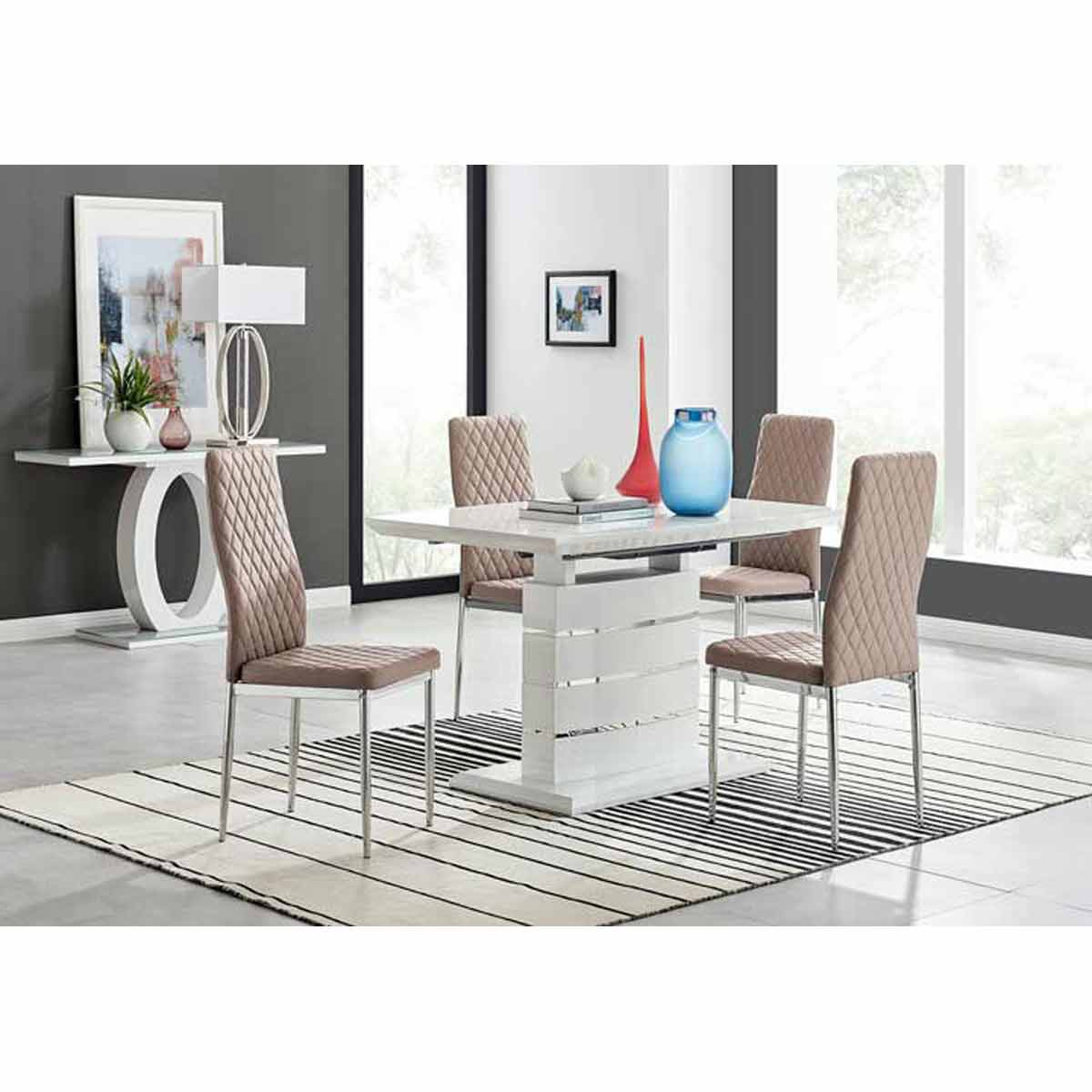 Furniture Box Renato 120cm High Gloss Extending Dining Table and 4 Cappuccino Milan Chairs