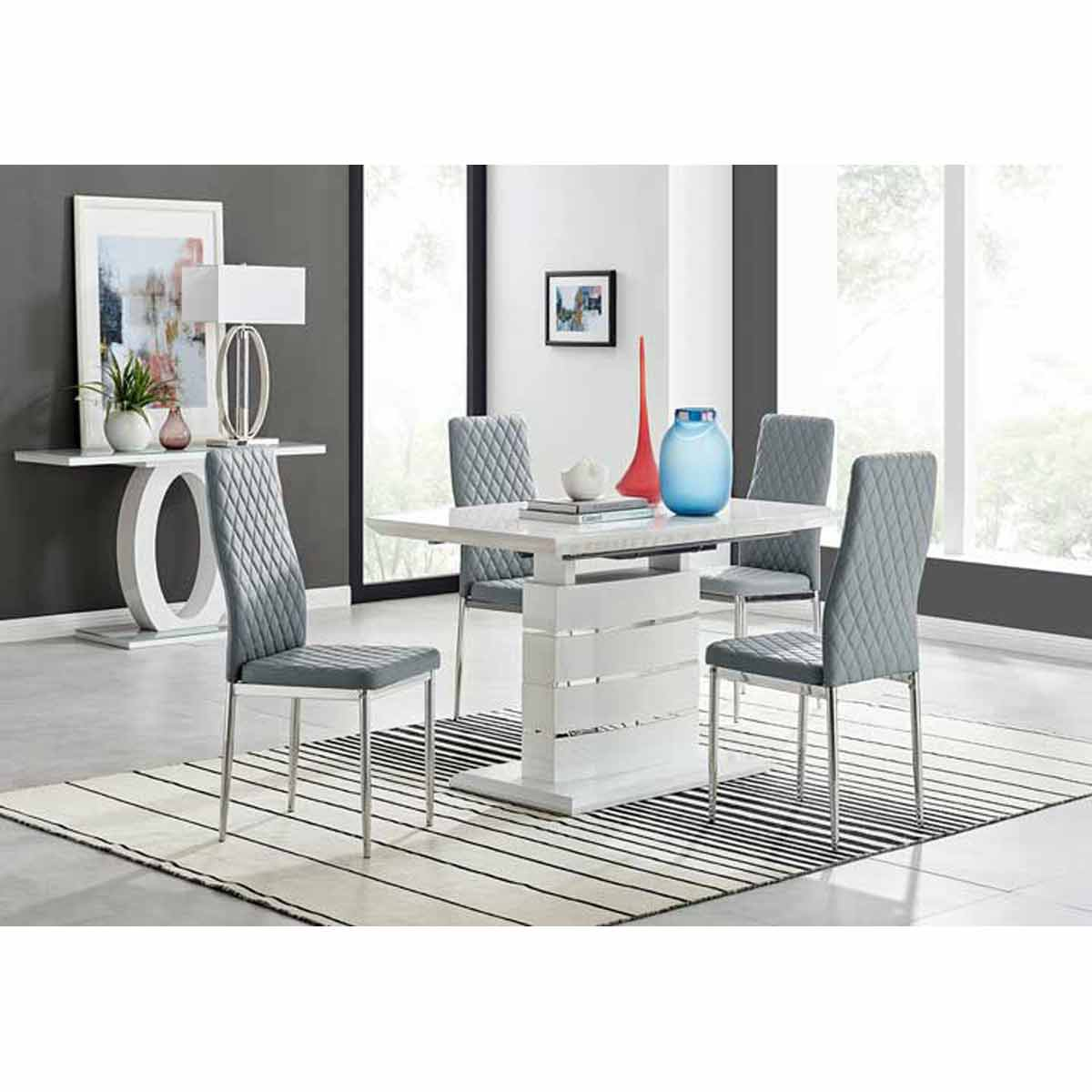 Furniture Box Renato 120cm High Gloss Extending Dining Table and 4 Grey Milan Chairs