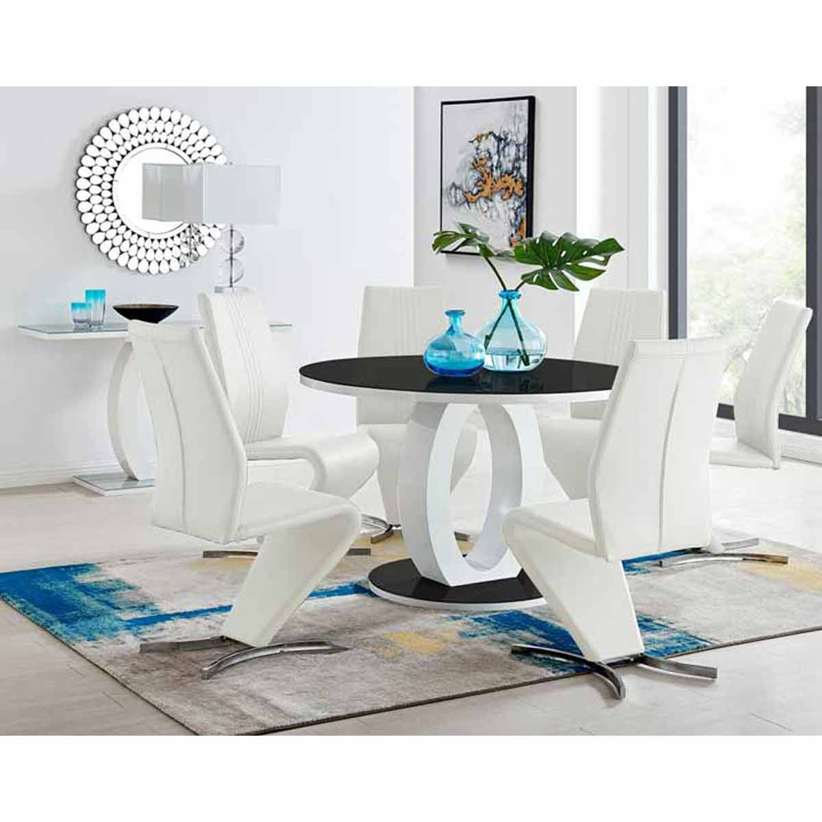Furniture Box Giovani High Gloss And Glass Large Round Dining Table And 6 Luxury White Willow Dining Chairs Set