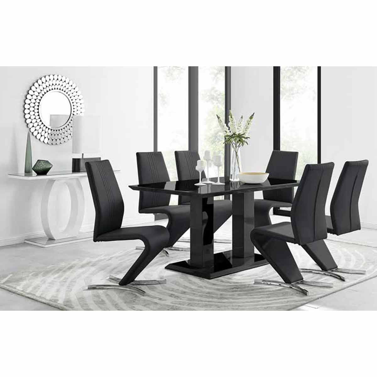 Furniture Box Imperia Black High Gloss Dining Table And 6 Black Luxury Willow Dining Chairs Set