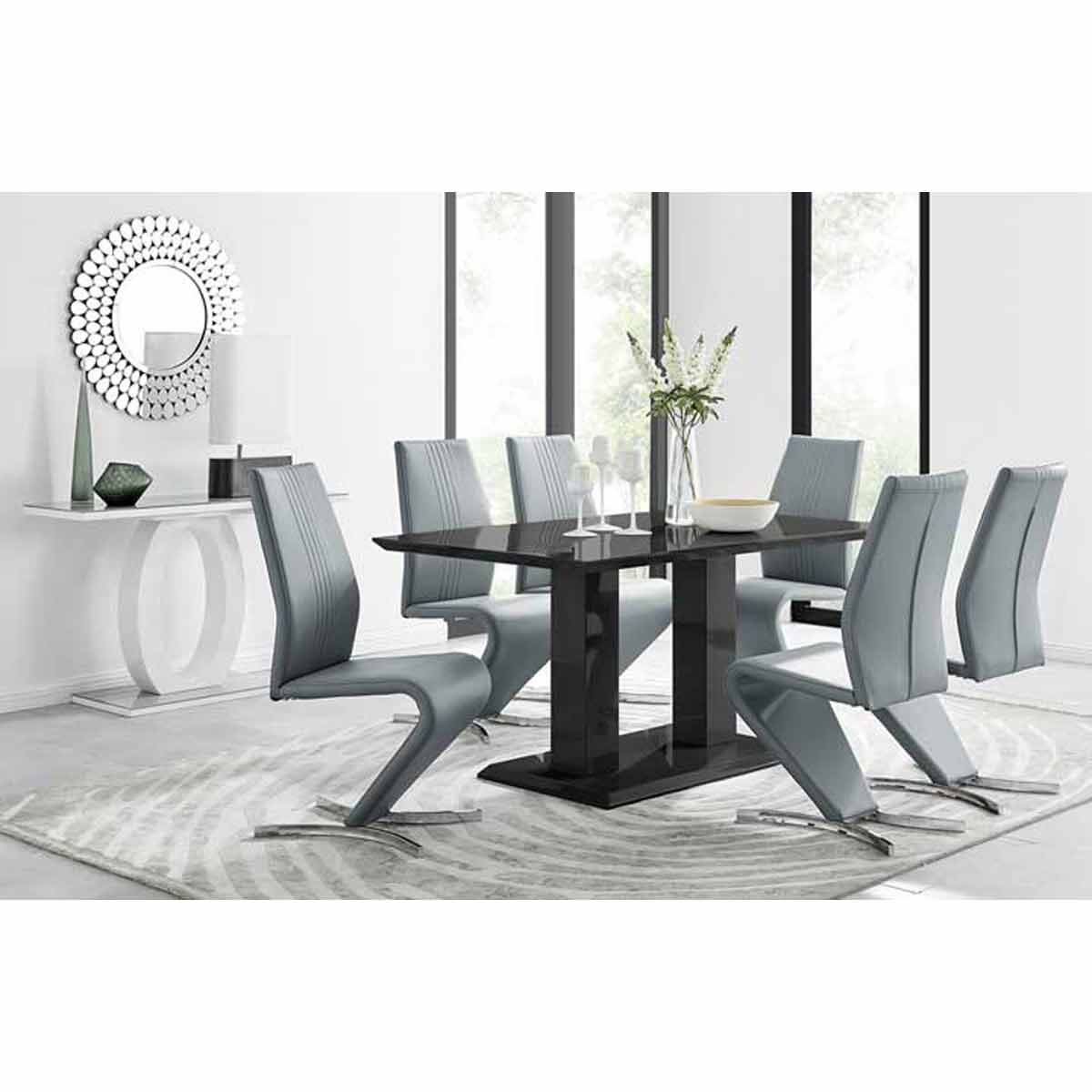 Furniture Box Imperia Black High Gloss Dining Table And 6 Elephant Grey Luxury Willow Dining Chairs Set