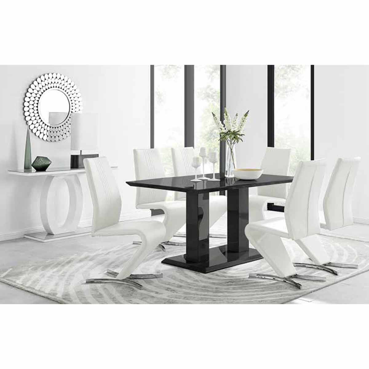 Furniture Box Imperia Black High Gloss Dining Table And 6 White Luxury Willow Dining Chairs Set