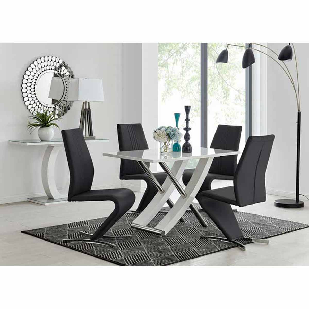 Furniture Box Mayfair 4 Seater White High Gloss And Stainless Steel Dining Table And 4 Black Luxury Willow Chairs Set