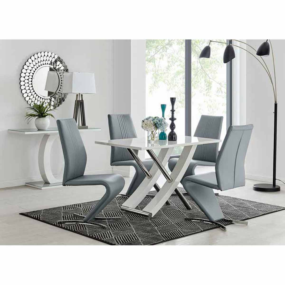 Furniture Box Mayfair 4 Seater White High Gloss And Stainless Steel Dining Table And 4 Elephant Grey Luxury Willow Chairs Set