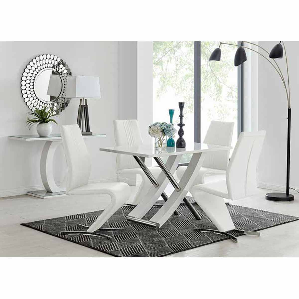 Furniture Box Mayfair 4 Seater White High Gloss And Stainless Steel Dining Table And 4 White Luxury Willow Chairs Set