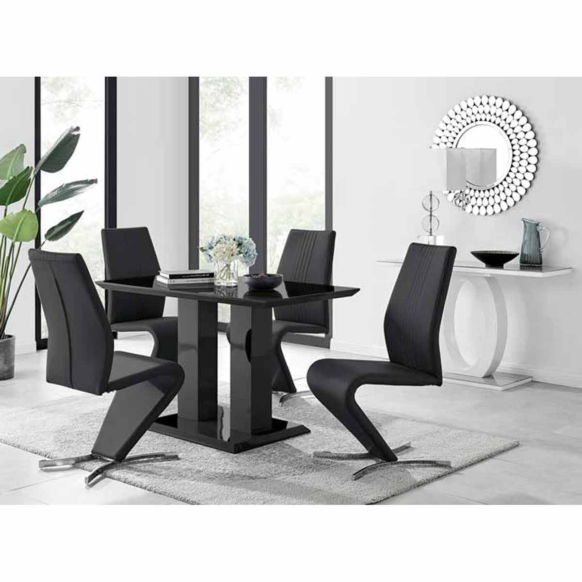 Furniture Box Imperia 4 Modern Black High Gloss Dining Table And 4 Black Luxury Willow Chairs Set