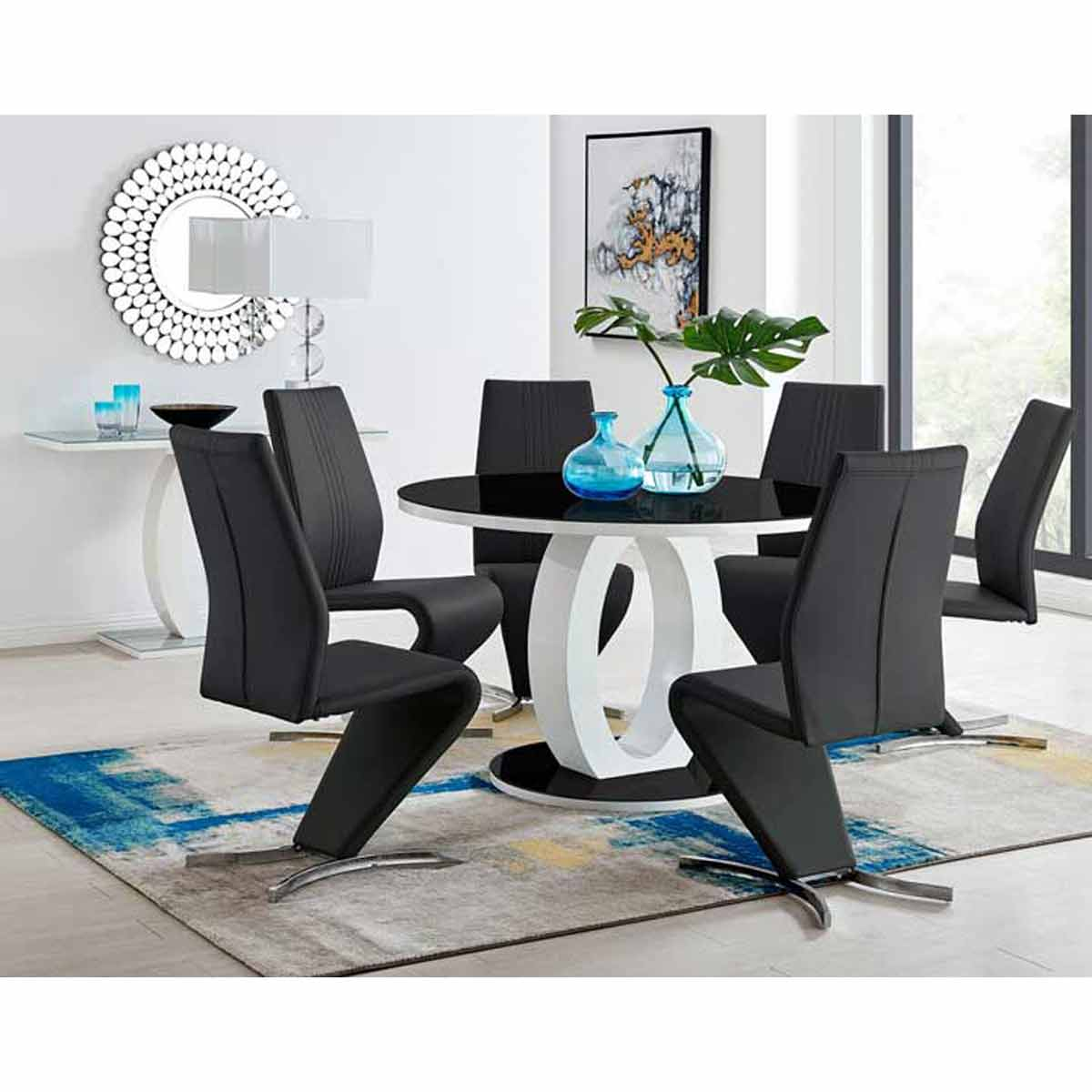Furniture Box Giovani High Gloss And Glass Large Round Dining Table And 4 Luxury Black Willow Dining Chairs Set