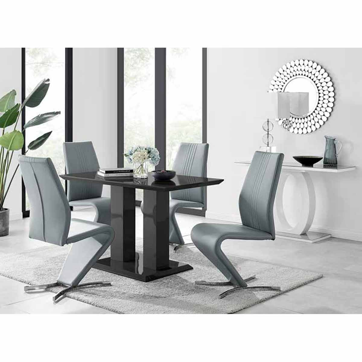 Furniture Box Imperia 4 Modern Black High Gloss Dining Table And 4 Elephant Grey Luxury Willow Chairs Set