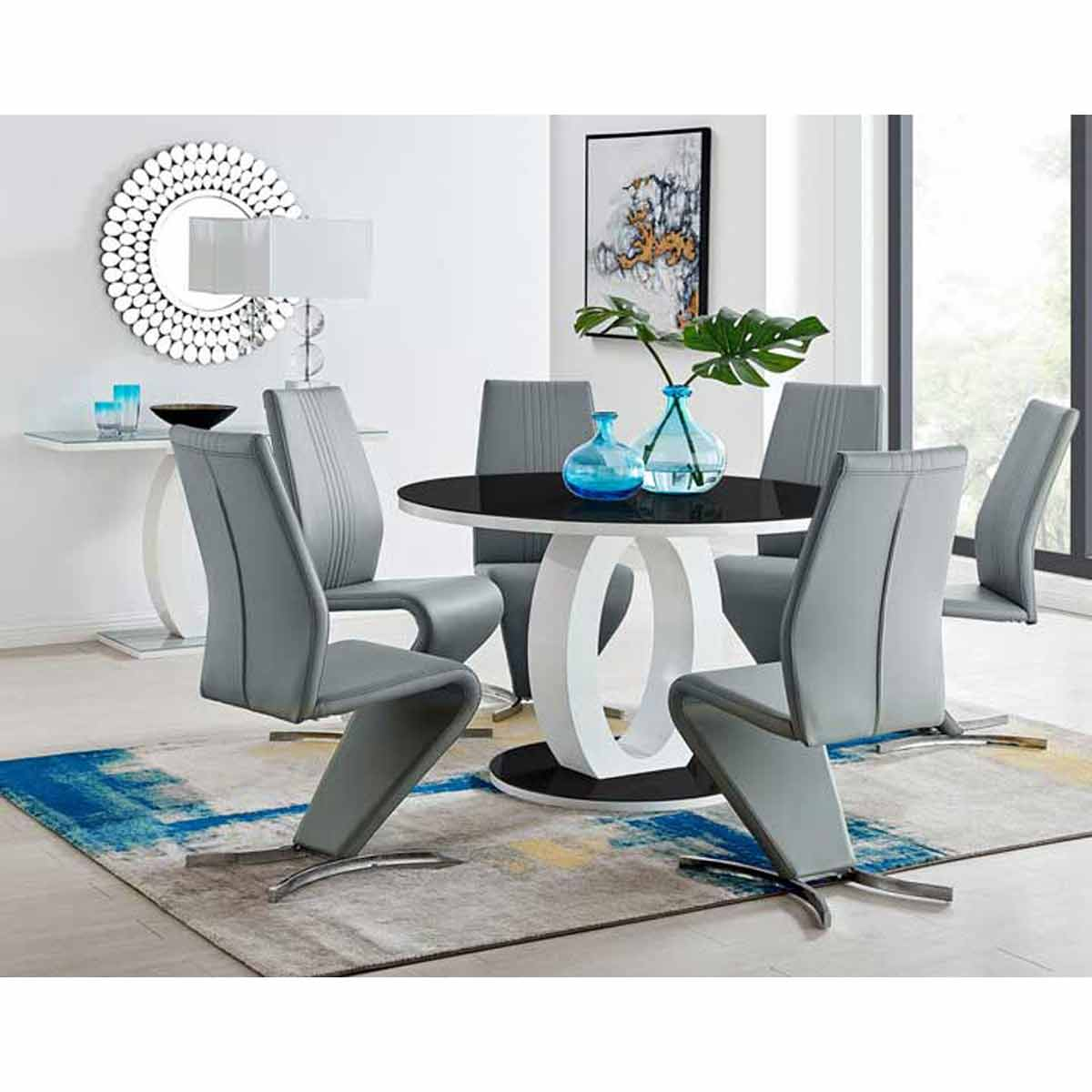 Furniture Box Giovani High Gloss And Glass Large Round Dining Table And 4 Luxury Elephant Grey Willow Dining Chairs Set