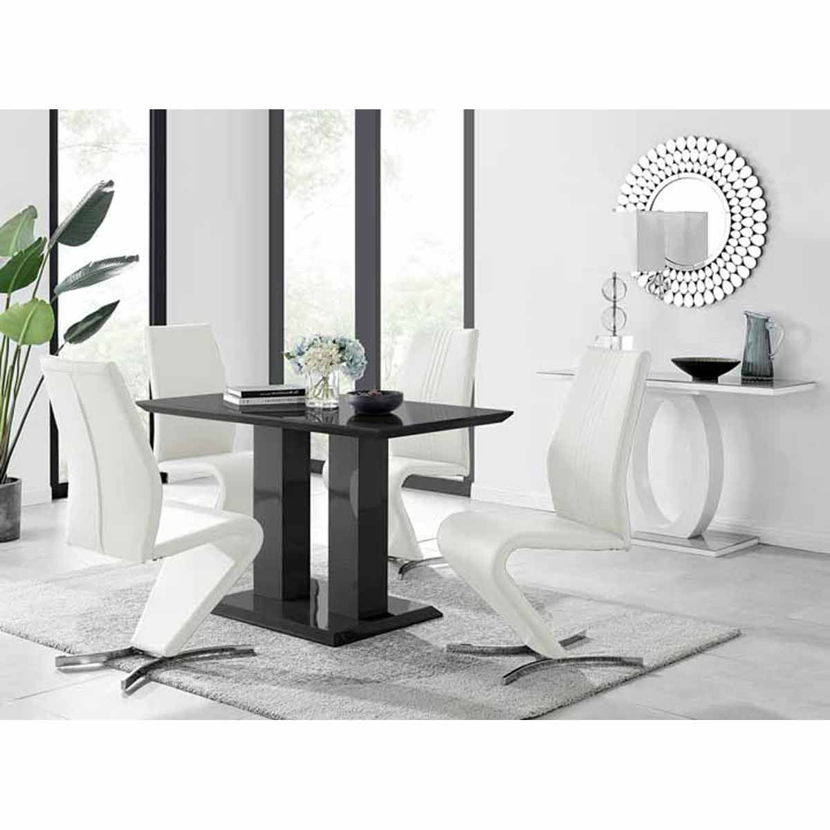 Furniture Box Imperia 4 Modern Black High Gloss Dining Table And 4 White Luxury Willow Chairs Set