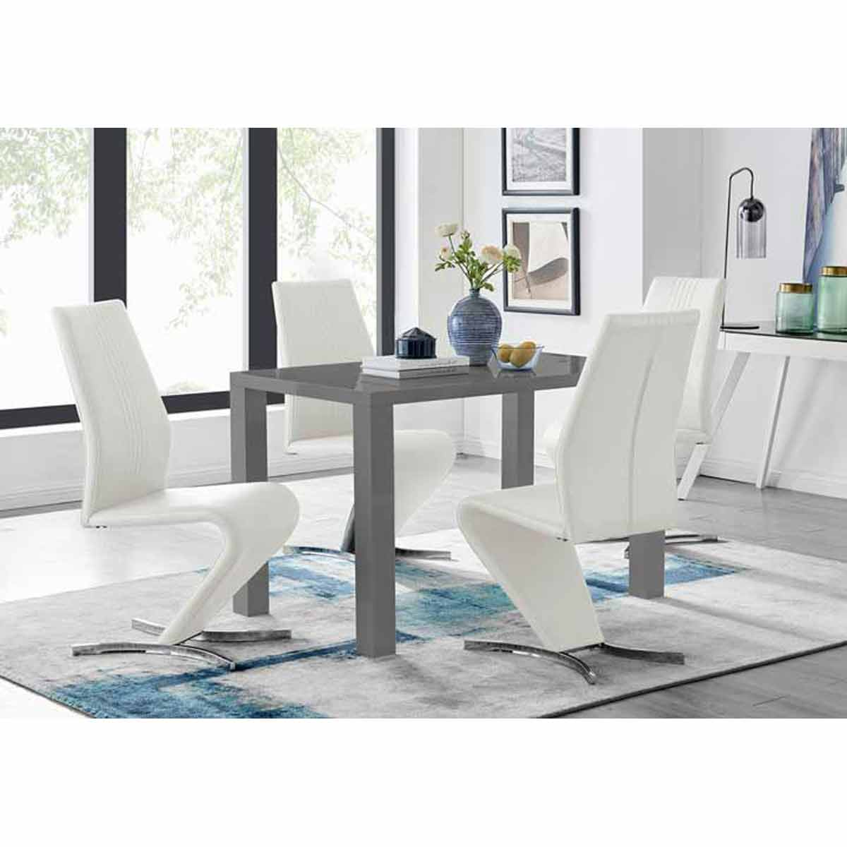 Furniture Box Pivero Grey High Gloss Dining Table and 4 Luxury White Willow Chairs Set