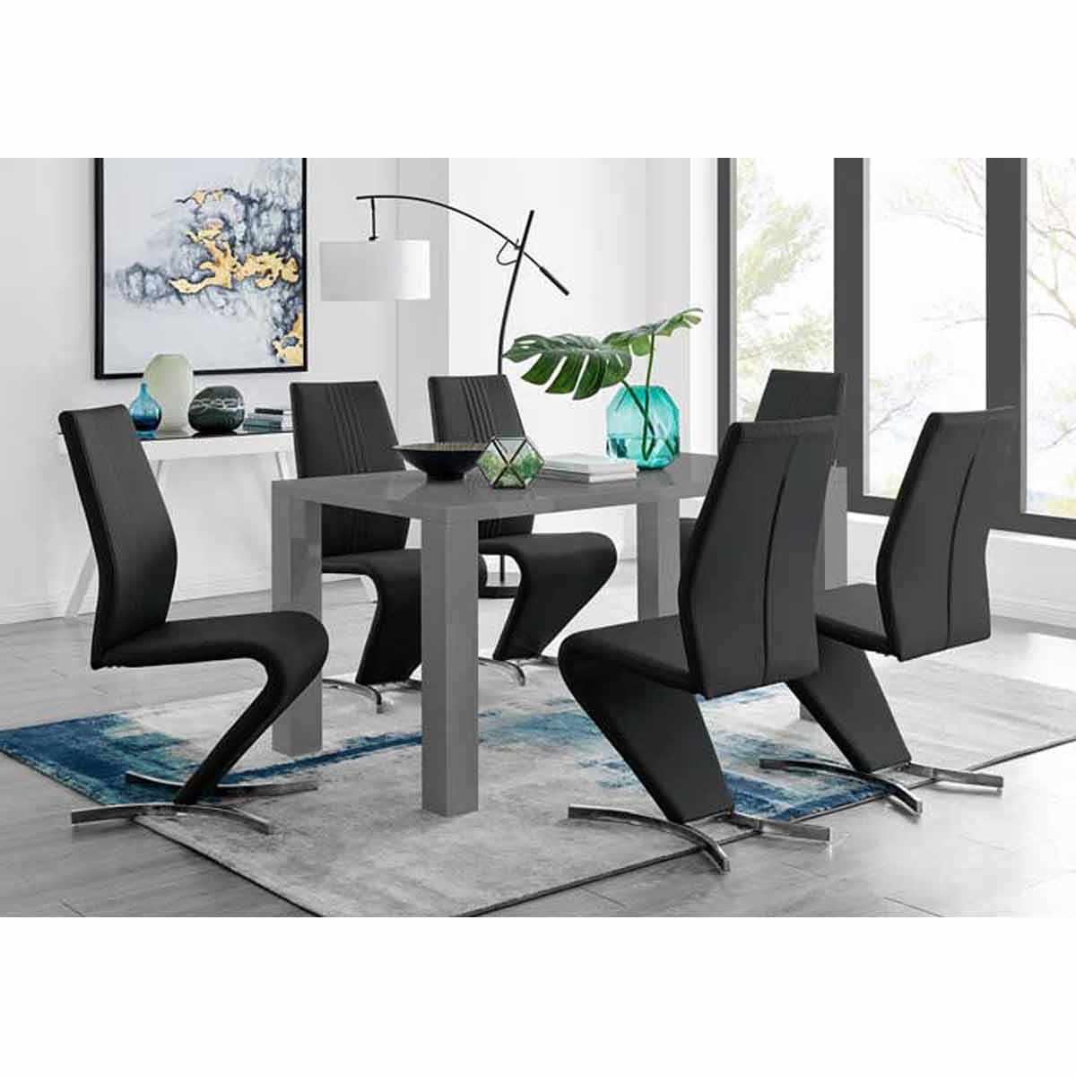 Furniture Box Pivero Grey High Gloss Dining Table And 6 Luxury Black Willow Chairs Set