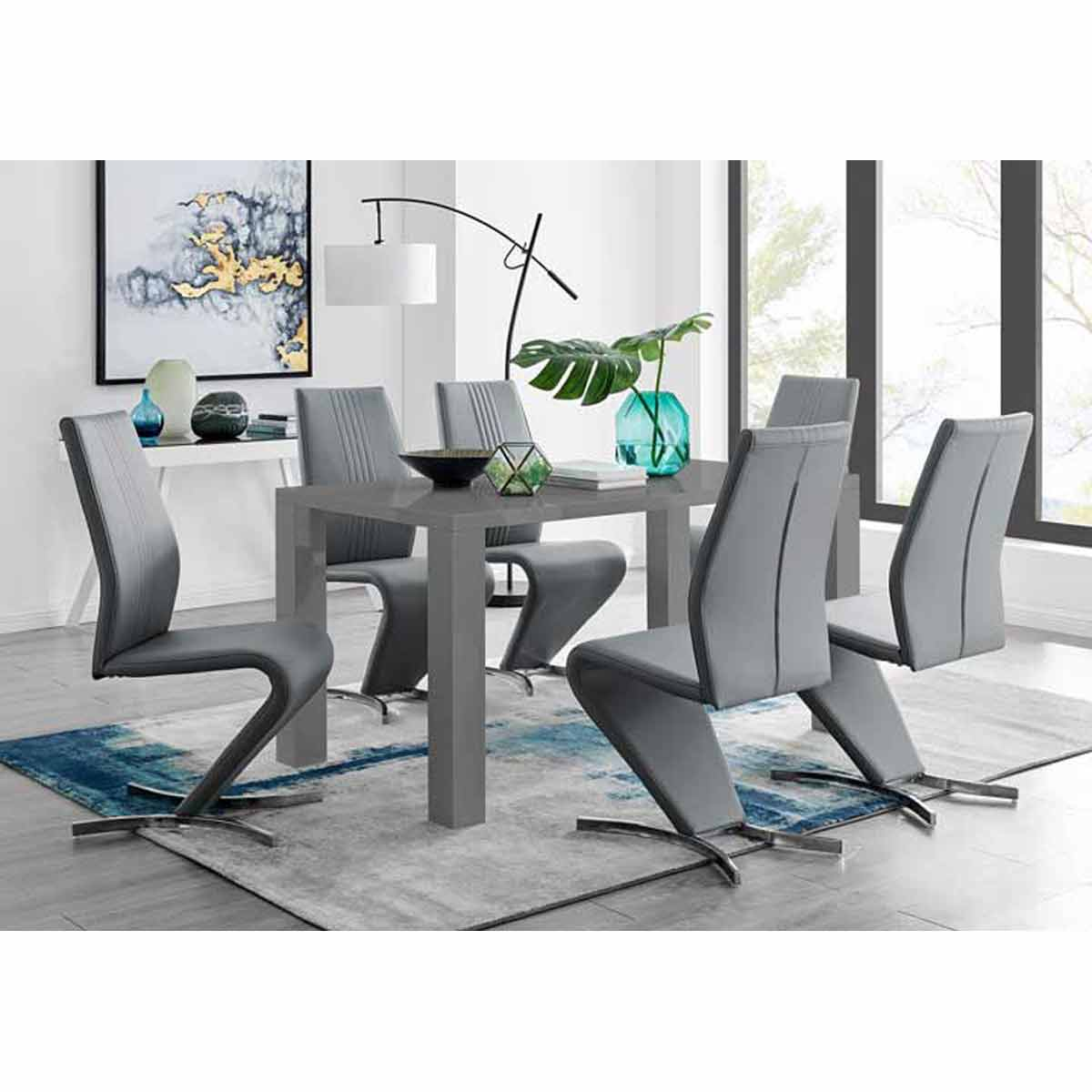 Furniture Box Pivero Grey High Gloss Dining Table And 6 Luxury Elephant Grey Willow Chairs Set