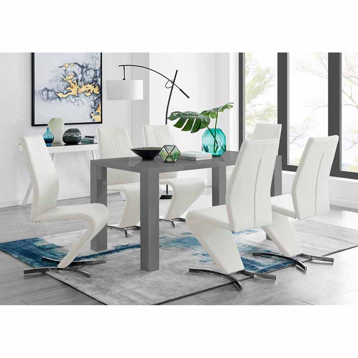 Furniture Box Pivero Grey High Gloss Dining Table And 6 Luxury White Willow Chairs Set