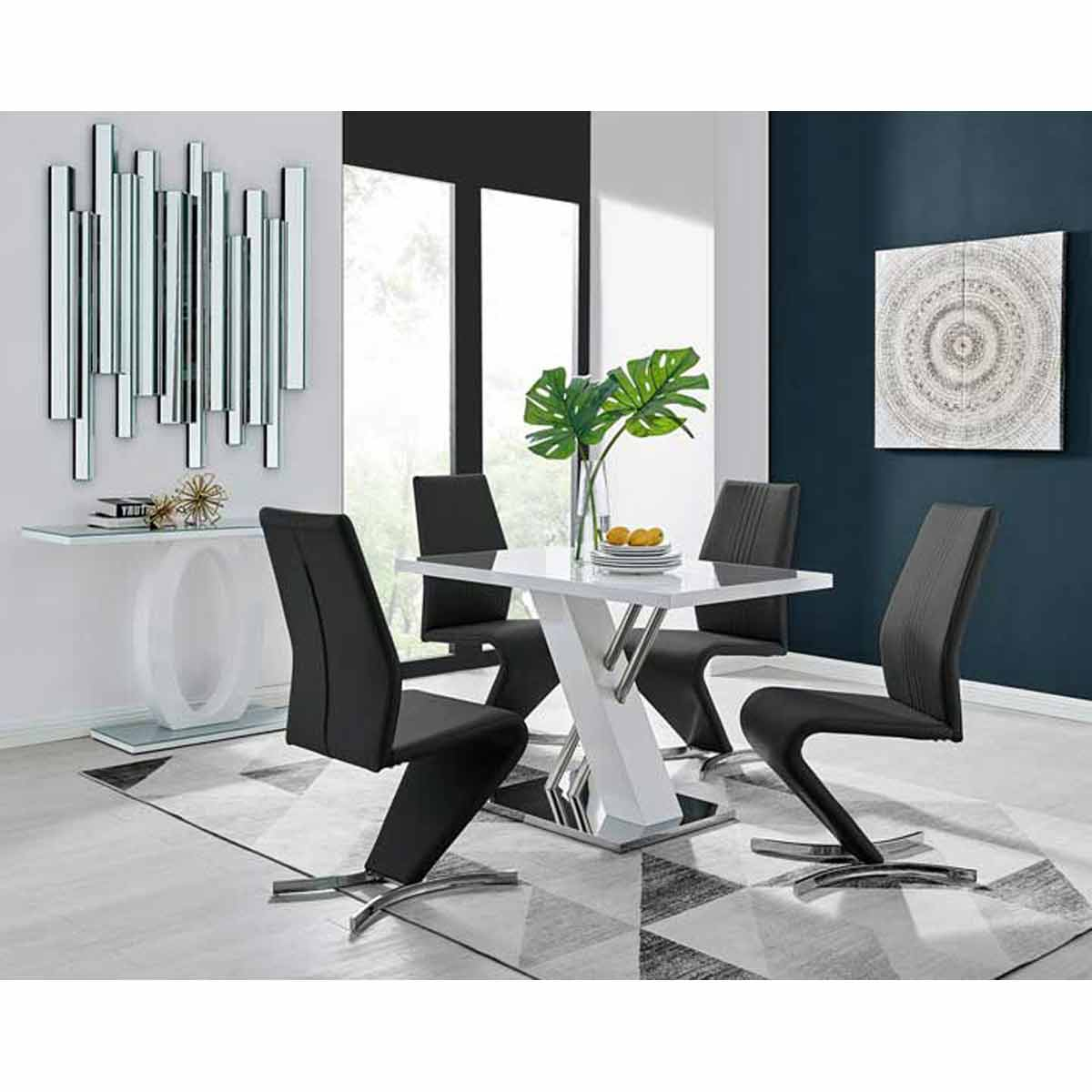 Furniture Box Sorrento 4 White High Gloss And Stainless Steel Dining Table And 4 Luxury Black Willow Chairs Set