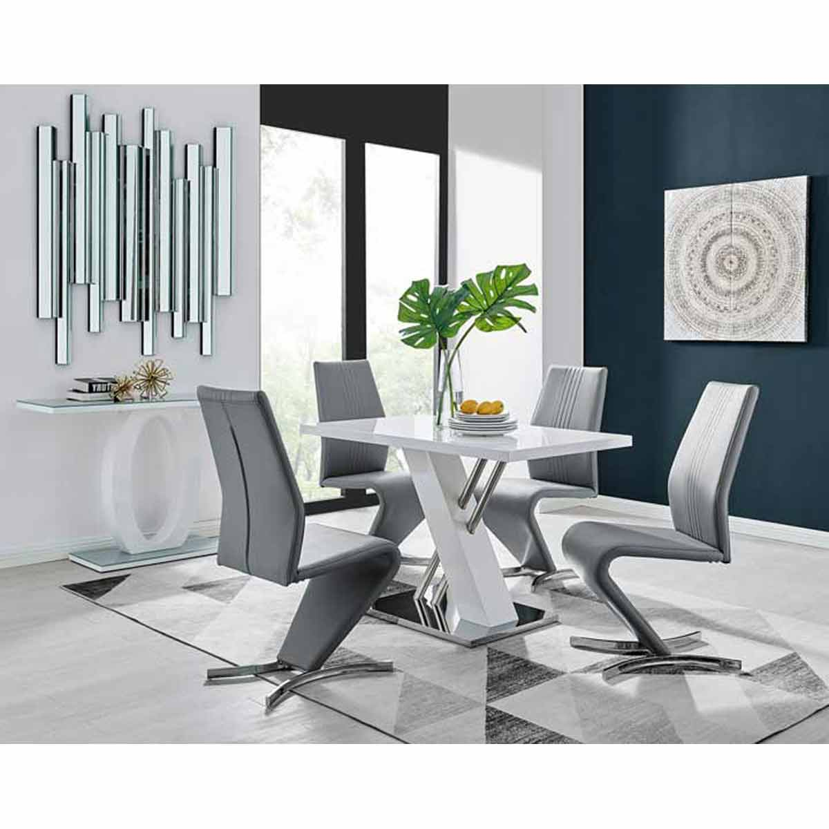 Furniture Box Sorrento 4 White High Gloss And Stainless Steel Dining Table And 4 Elephant Grey Luxury Willow Chairs Set