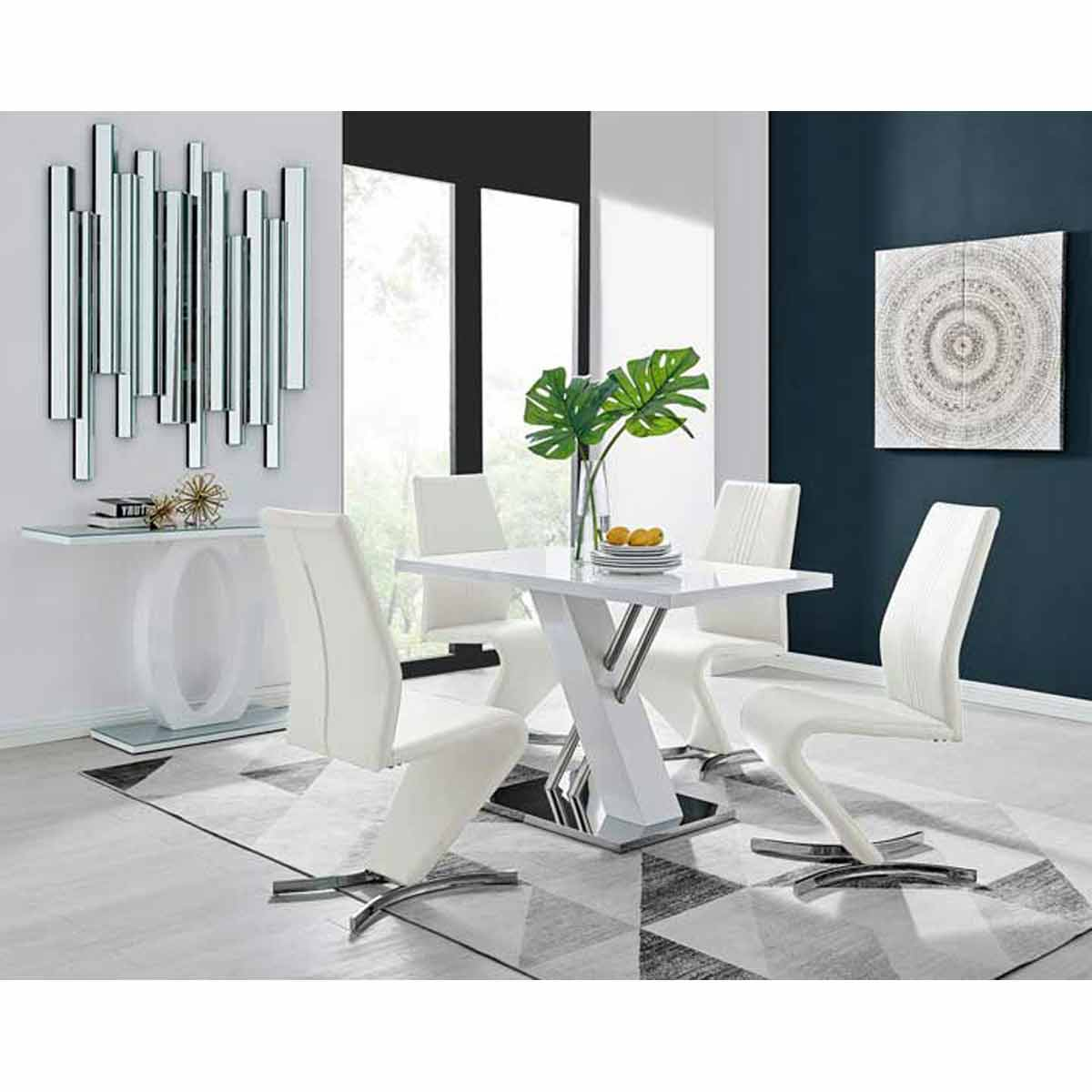Furniture Box Sorrento 4 White High Gloss And Stainless Steel Dining Table And 4 Luxury White Willow Chairs Set