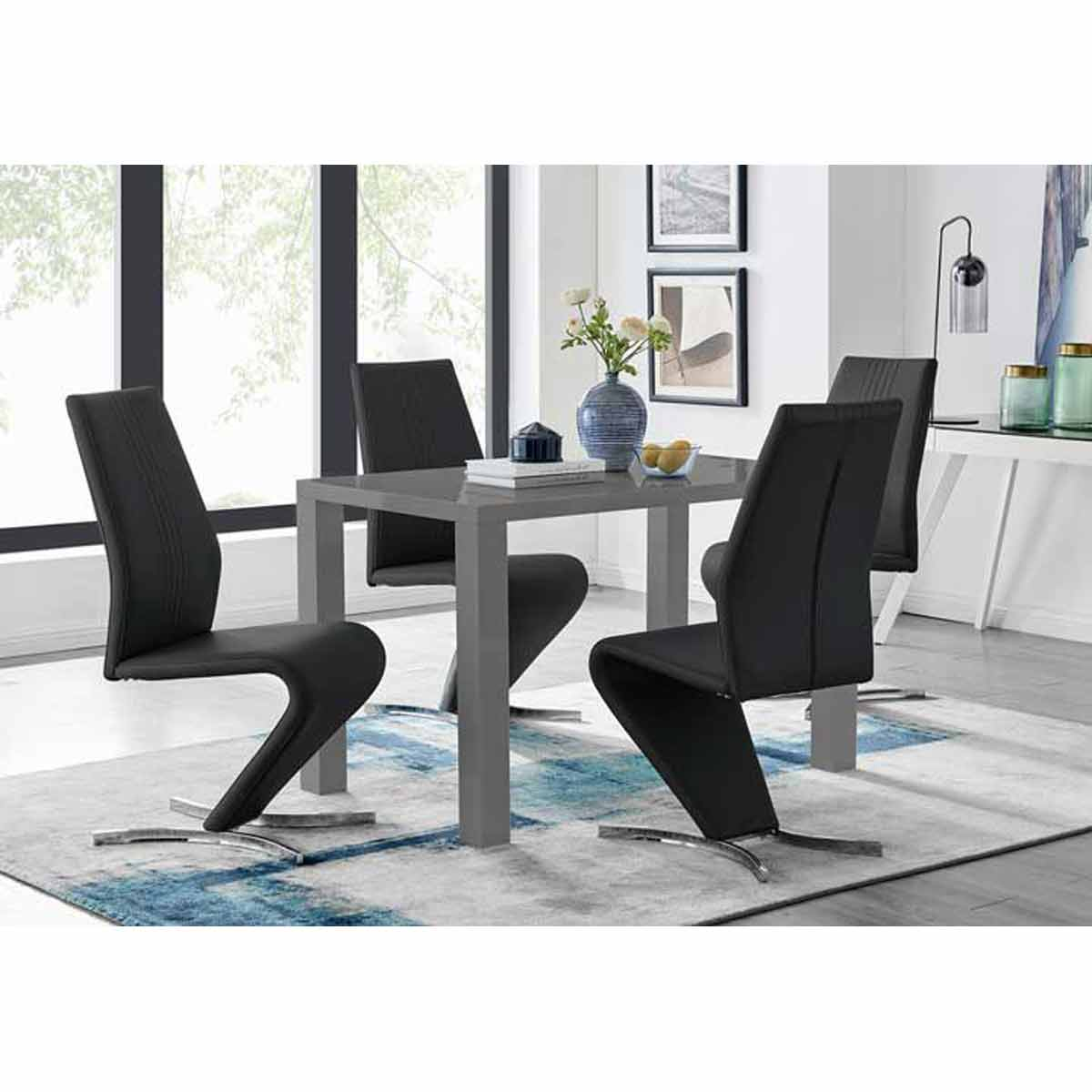 Furniture Box Pivero Grey High Gloss Dining Table and 4 Luxury Black Willow Chairs Set