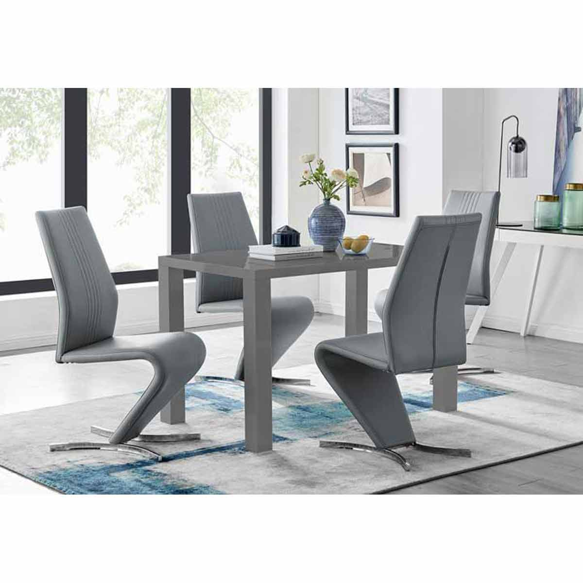 Furniture Box Pivero Grey High Gloss Dining Table and 4 Luxury Elephant Grey Willow Chairs Set