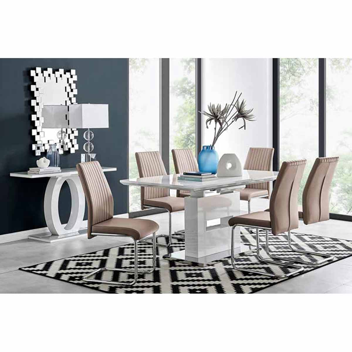 Furniture Box Arezzo Large Extending Dining Table and 6 Cappuccino Lorenzo Chairs