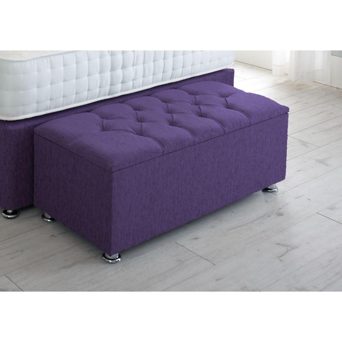 Serene Living Chesterfield Chenille Gas Lift Ottoman Storage Box Purple