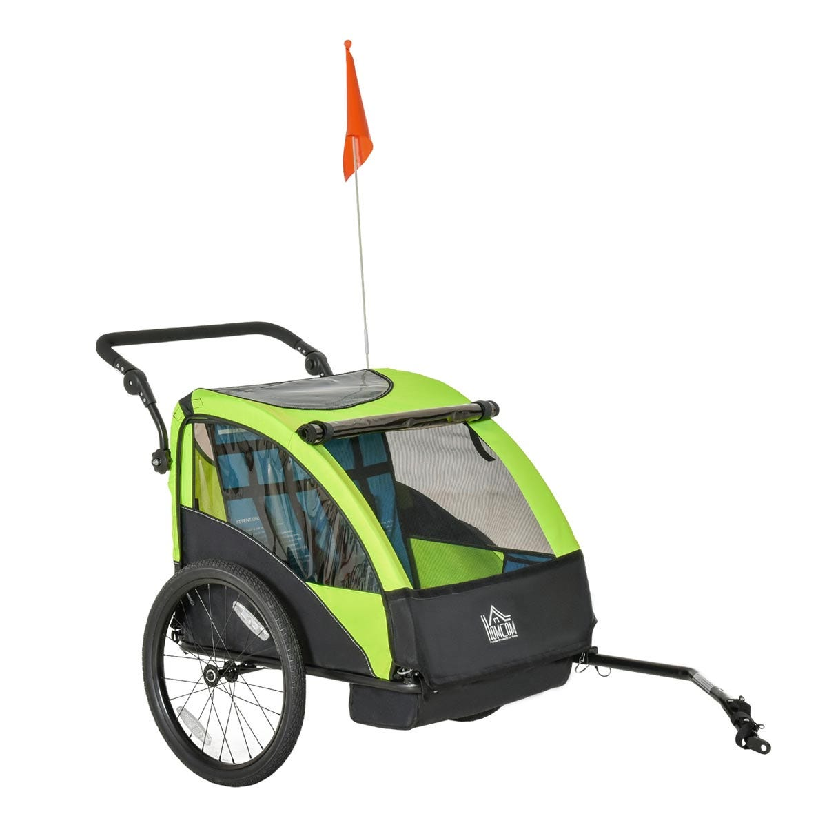 Reiten Kids 2-In-1 Foldable 2-Seater Bike Trailer & Stroller with Adjustable Handlebar - Black/Green