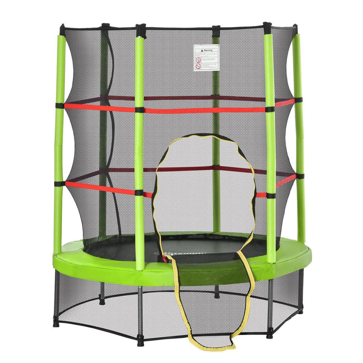 Jouet Kids 140cm Trampoline with Enclosure Net - Green/Red/Black
