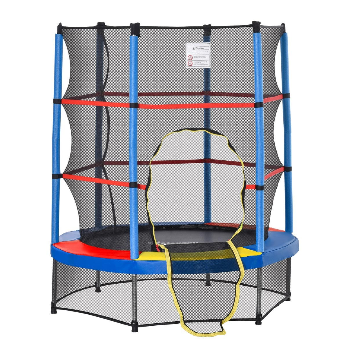 Jouet Kids 140cm Trampoline with Enclosure Net - Blue/Red/Black