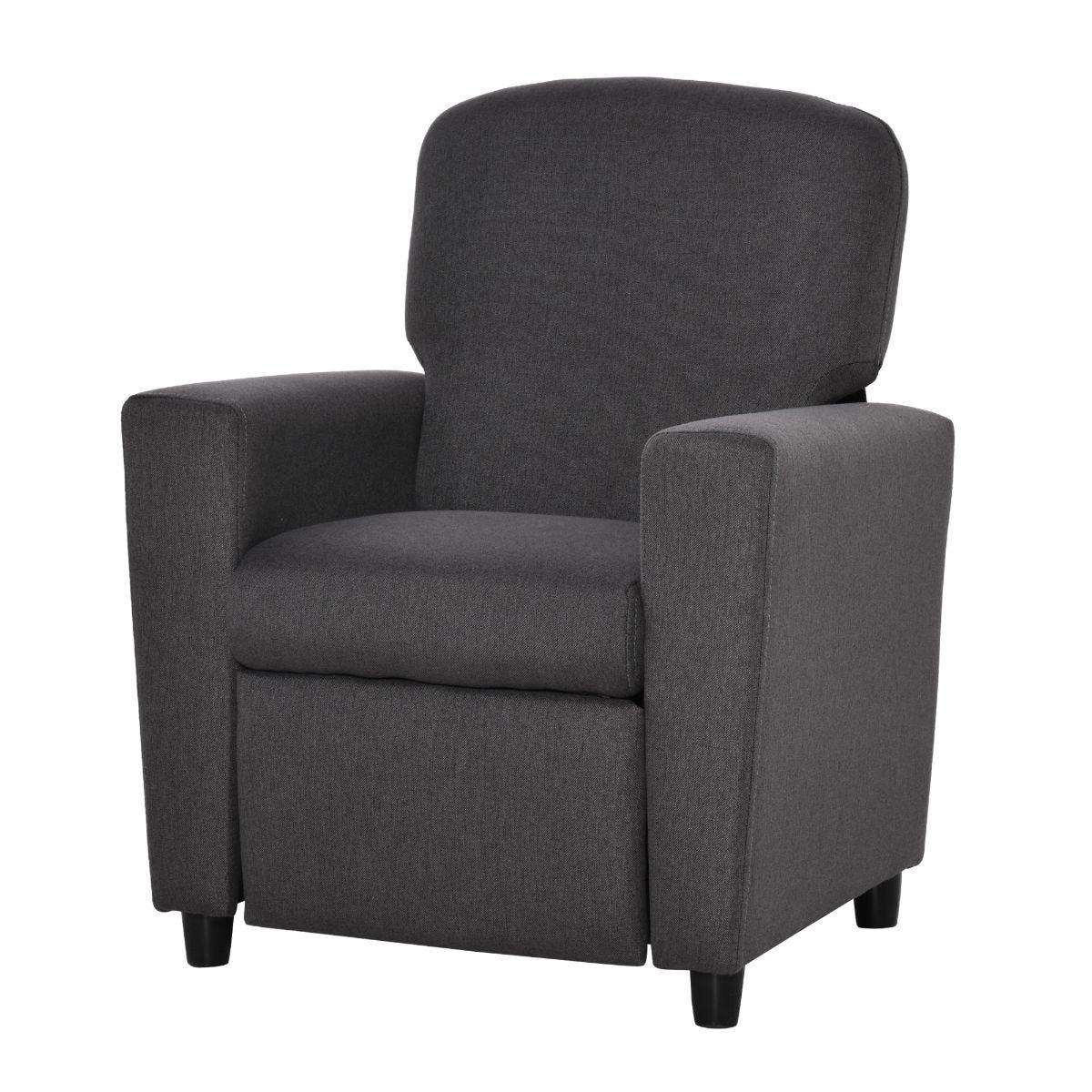 HOMCOM Kids Sofa with Footrest Linen Recliner Armchair Playroom Bedroom Grey