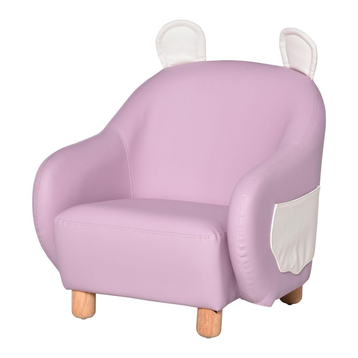 HOMCOM Cute Bunny Rabbit Kids Sofa Faux Leather Mini Armchair Pink