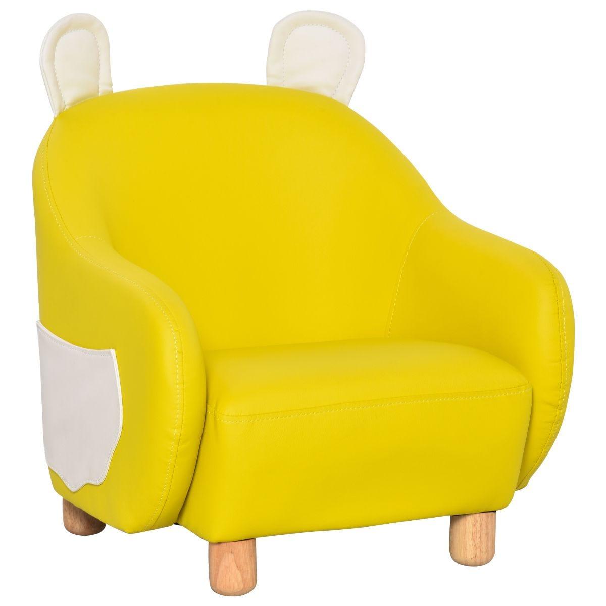 HOMCOM Cute Bunny Rabbit Kids Sofa Faux Leather Mini Armchair Yellow