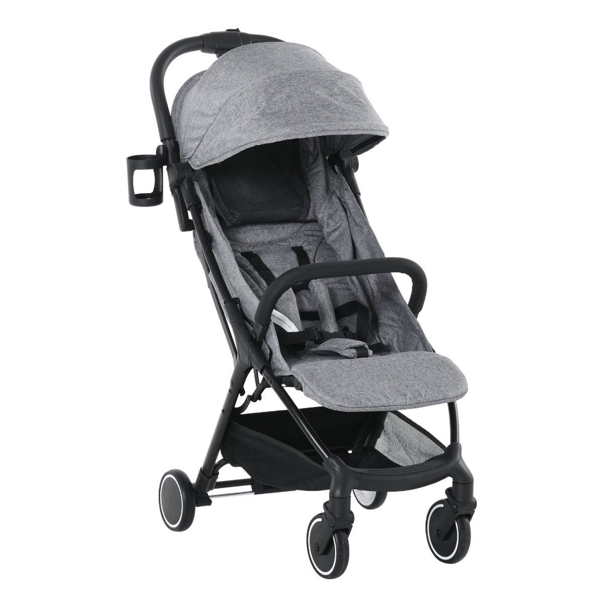 HOMCOM Baby Stroller Five Point Harness Foldable Pushchair for 0 To 36 Months Grey