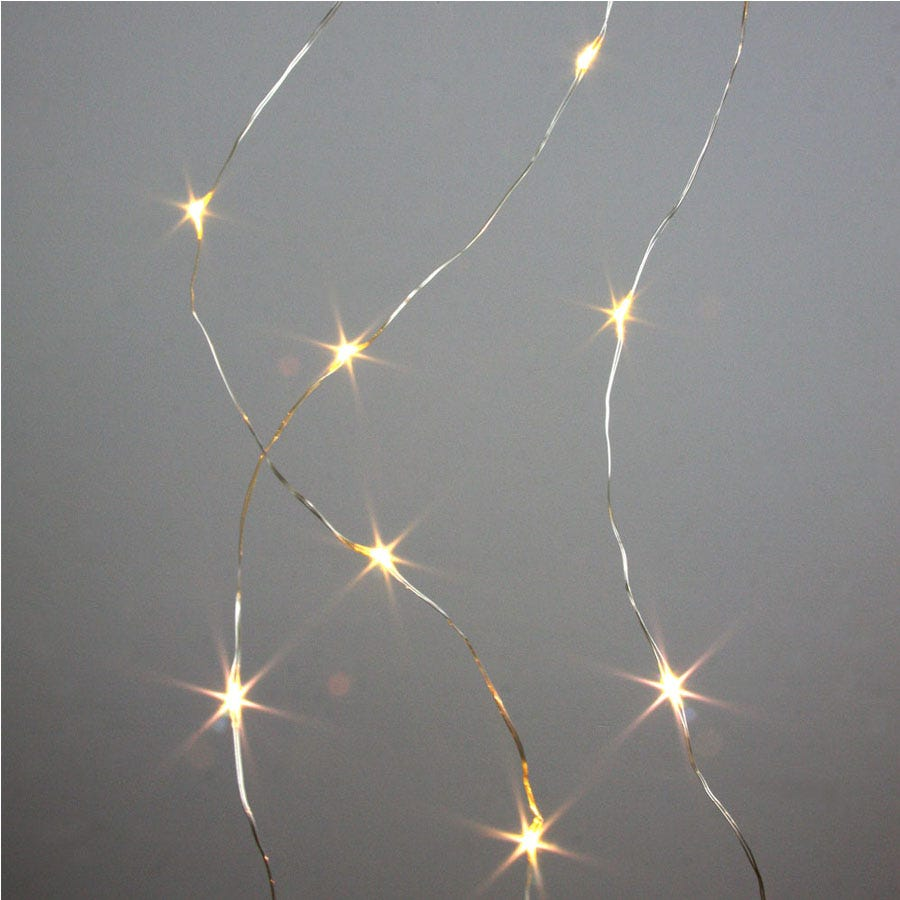 Image of 40 Battery-Operated Warm White Galaxy String Lights – Silver