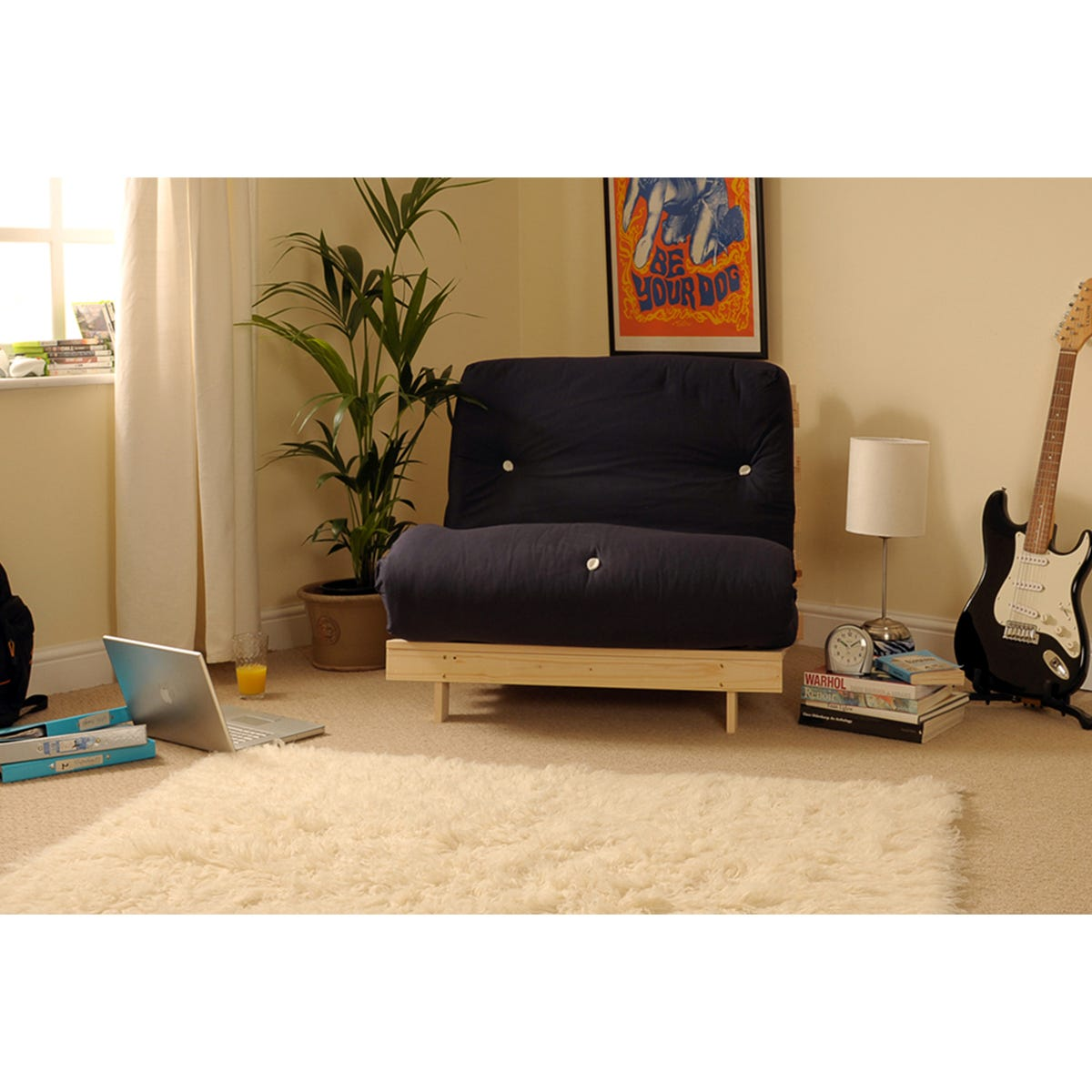 Albury Small Double Sofa Bed Set With Tufted Mattress - Black